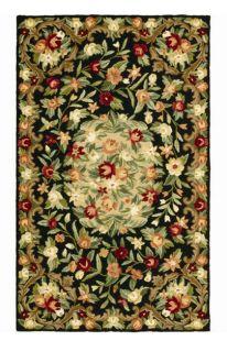 Hand hooked Bijoux Black Wool Rug (6 x 6)