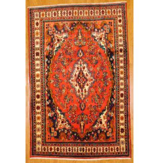 Persian Hand knotted Red/ Ivory Hamadan Wool Rug (69 x 108