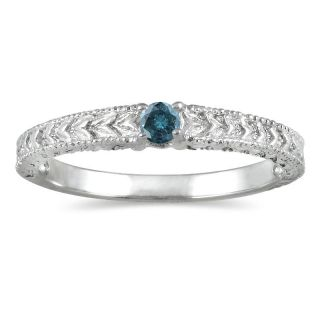 10k White Gold Blue Diamond Promise Ring (Blue, I1 I2)