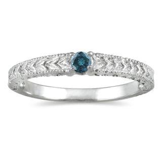 10k White Gold Blue Diamond Promise Ring (Blue, I1 I2)