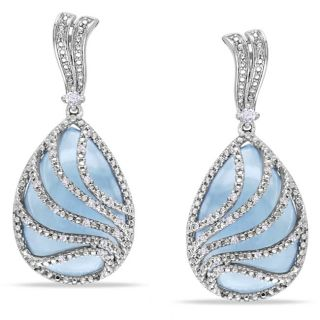 Miadora Sterling Silver Chalcedony and 1/4ct TDW Diamond Earrings (G H