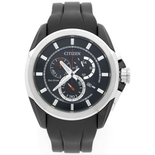 Citizen Mens Black Rubber Strap Chronograph Watch Today $178.48