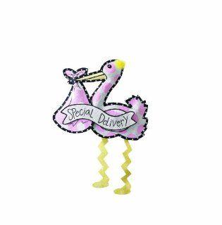 Mud Pie Special Delivery Stork Door Hanger, Pink Baby