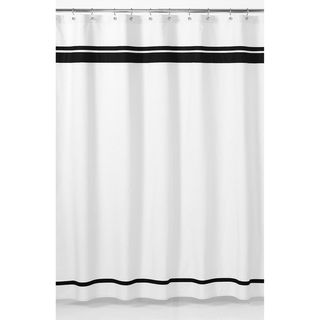 White and Black Hotel Shower Curtain
