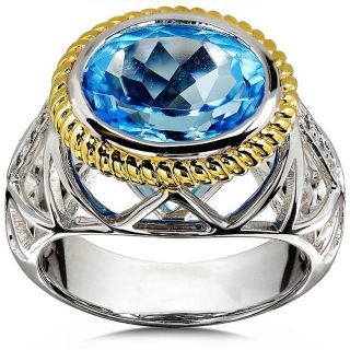 Sterling Silver and Gold Plated Oval cut Blue Topaz Diamond Ring