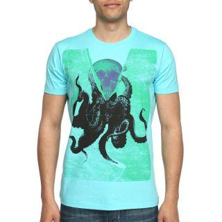 DIESEL T Shirt Listeh Homme Turquoise, vert, violet et noir   Achat