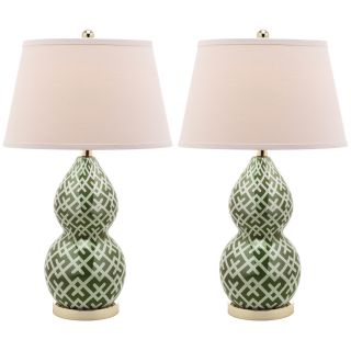 Cross Hatch Double Gourd 1 light Green Table Lamps (Set of 2) Today $