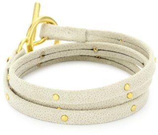 gorjana Graham Beige Satin Leather Studded Wrap Bracelet