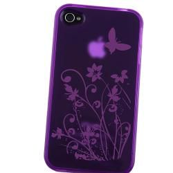 Purple/ Flower Butterfly TPU Rubber Case for Apple iPhone 4