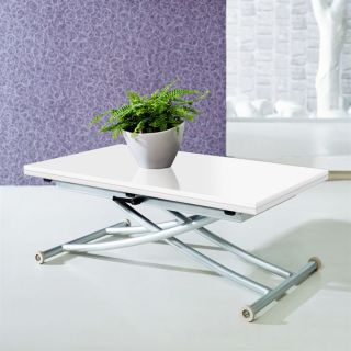 Table basse design relevable extensible lea blanche - Table basse blanche plateau relevable ...