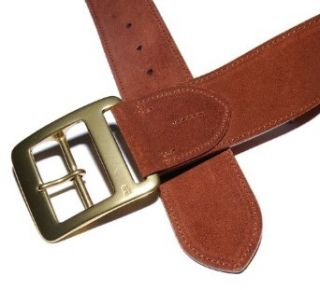 Polo Ralph Lauren Mens Suede Leather Belt Brown Brass 34
