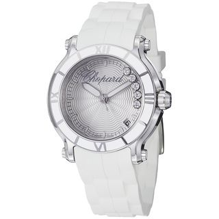 Chopard Womens Happy Sport Round Silver Diamond Dial Strap Watch