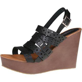 Refresh by Beston Womens Reika 03 Black Wedge Sandals