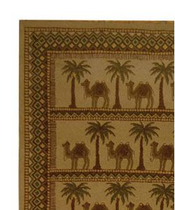 Hand hooked Camel Ivory/ Camel Wool Rug (89 x 119)