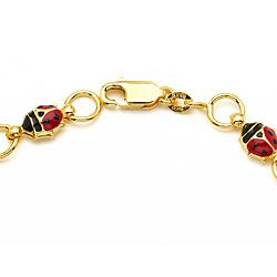 14k Yellow Gold Enamel Lady Bug Charm Bracelet