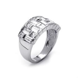 Ultimate CZ Platinum over Silver Cubic Zirconia Basketweave Ring