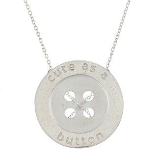 White Trash Charms Sterling Silver Large Cute as a Button Necklace