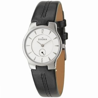 Skagen Womens Classic Stainless Steel and Leather Strap Watch