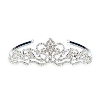 AD179 DIAMIE Bridal Wedding Silver Plated Crystal Tiara