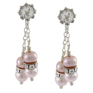 Tacori Bridal Evening Sterling Silver Pink Pearl, White Topaz Dangle