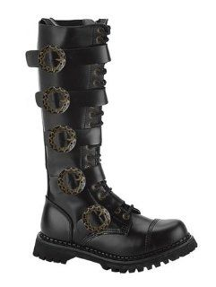 Mens Black Leather Steampunk Boot   8 Shoes