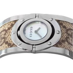 Gucci Womens 112 Twirl Brown Fabric Mother of Pearl Watch