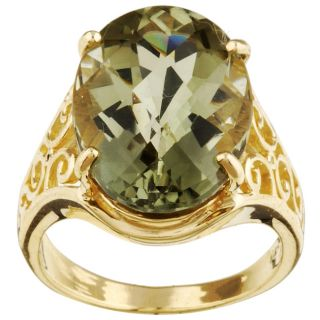 10k Yellow Gold Green Amethyst Ring