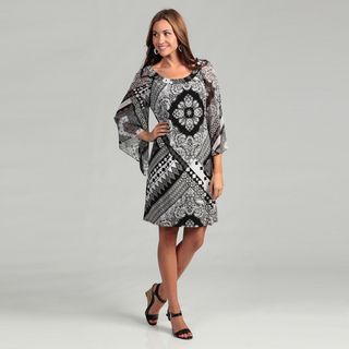 Sangria Womens Black/ White Abstract Print Dress