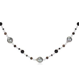 Miadora Sterling Silver Black Tahitian Pearl and Multi gemstone