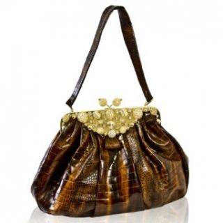Renato Angi Italian Designer Milady Brown Croc Leather
