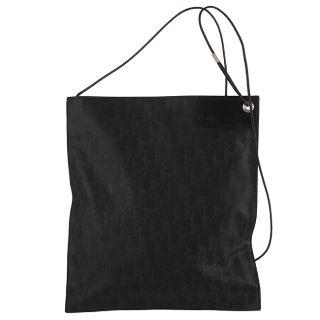 Dior Black Stamped Canvas Large Flat Messenger Bag