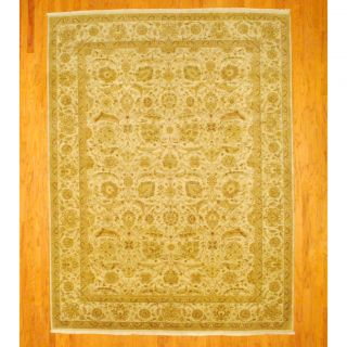 Indo Hand knotted Vegetable Dye Tabriz Beige/ Green Wool Rug (811 x