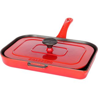 Chass French Red Double enameled Cast Iron Panini Press/ Grill
