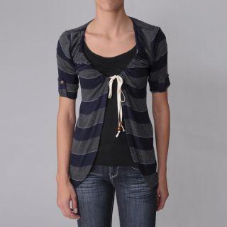 Journee Collection Juniors Tie front Short sleeve Cardigan