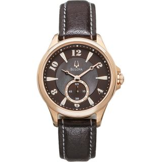 Bulova 97L113 Womans Adventurer Rose Gold Tone Watch with Leather