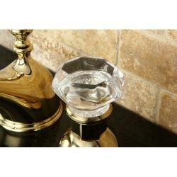 Crystal Handle Polished Brass Widespread Bathroom Faucet