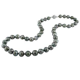 DaVonna 14k Gold Black 8 10mm Tahitian Pearl Necklace Earring Set with