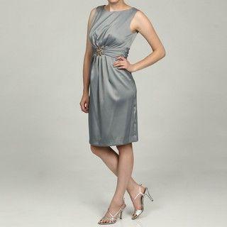 Jessica Howard Womens Silver Ruched Waist Sheath Dress