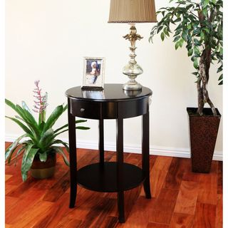 Espresso Finish Wood Single drawer Round Side/ End Table