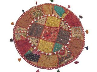 Decorative Round Pillow Case Embroidered Floor Bed