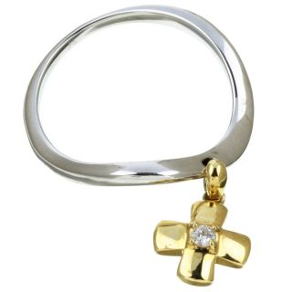 14k Two tone Gold Dangle Cross Diamond Ring (Size 6.5)