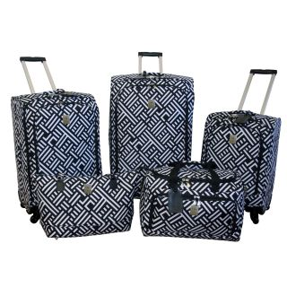 Jenni Chan Signature Black/White 5 piece Spinner Luggage Set See Price