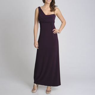 Betsy & Adam Womens Plum Drape Strap Evening Gown