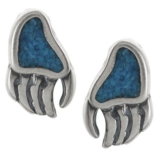 Tressa Sterling Silver Genuine Turquoise Bear Paw Print Stud Earrings