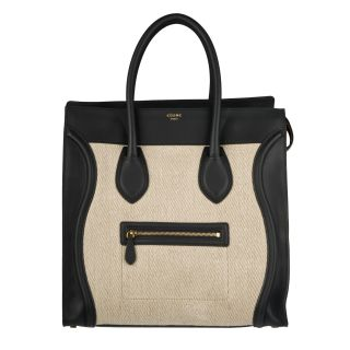 Celine Black/ Cream Medium Luggage Tote Bag