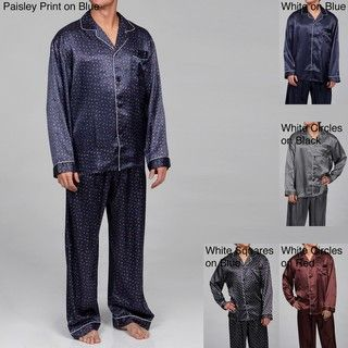 Alexander Del Rossa Mens Printed Satin Pajamas Set