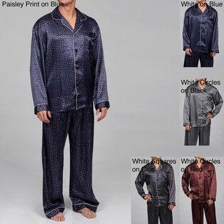 Alexander Del Rossa Mens Printed Satin Pajamas Set