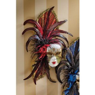 Venezia Feathered Carnivale Mask Crimson and Ebony Home