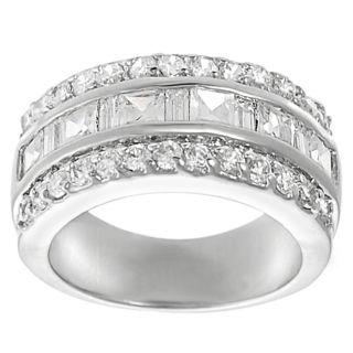 Silvertone Round cut and Princess cut Cubic Zirconia Ring