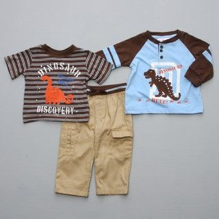 Baby Togs Infant Boys Dino Tops Cargo Pant 3  Piece Set
